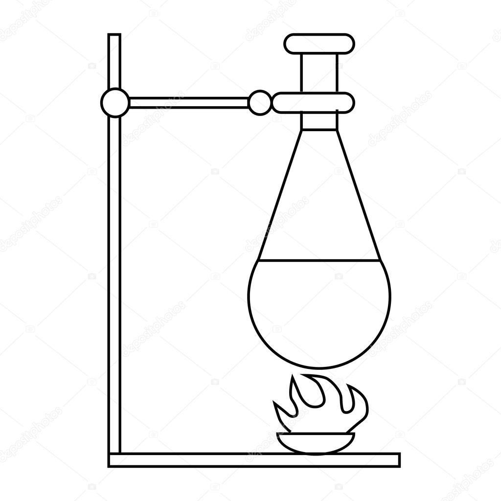 Retort stand, bunsen burner and test flask icon — Stock Vector ... for Bunsen Burner Drawing  166kxo