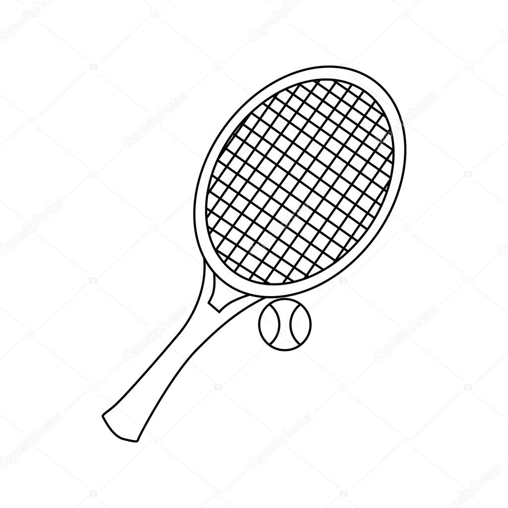 Tennis Racket With Tennis Ball Icon Outline Style Stock Vector