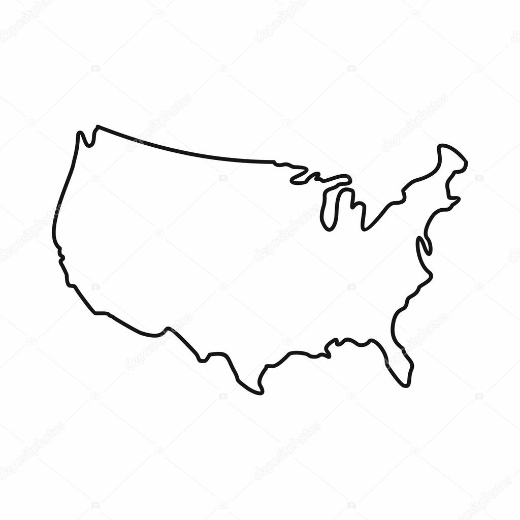USA map icon, outline style — Stock Vector © ylivdesign ...