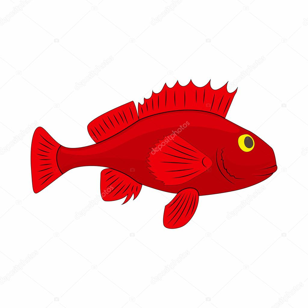 Red betta fish, fighting fish icon, cartoon style — Stock Vector ...