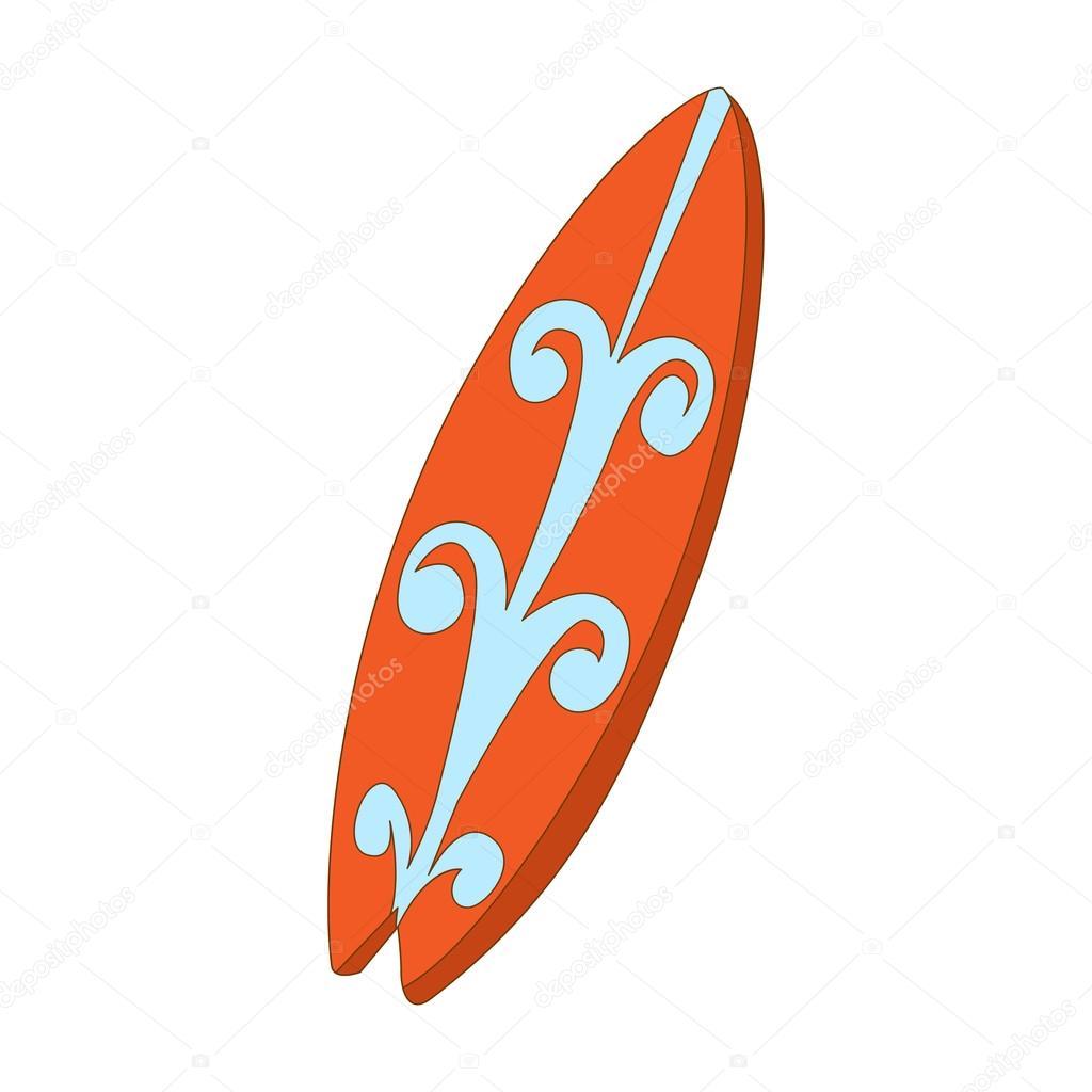 icono de tabla de surf estilo de dibujos animados