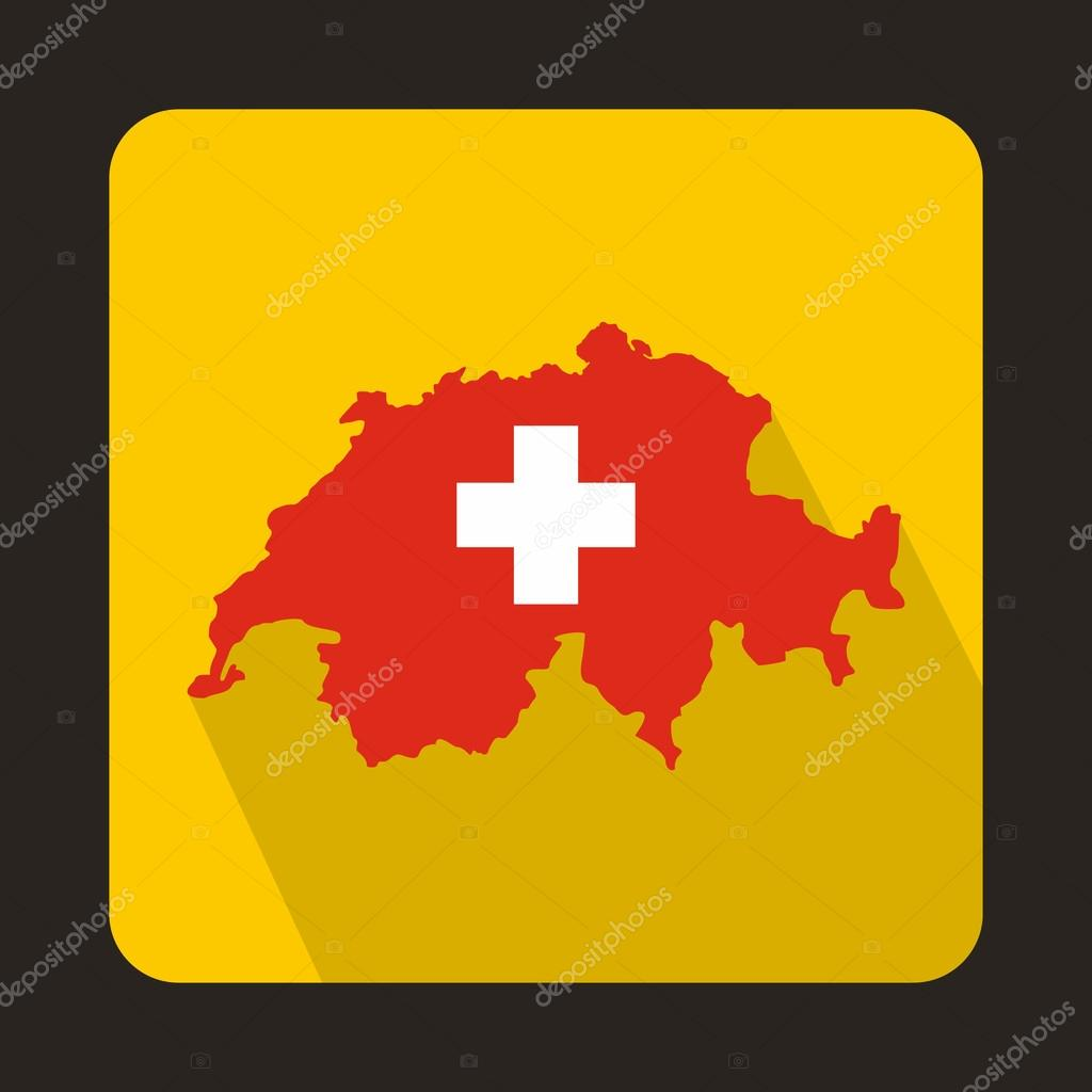 Map And Flag Of Switzerland Icon Flat Style Stock Vector