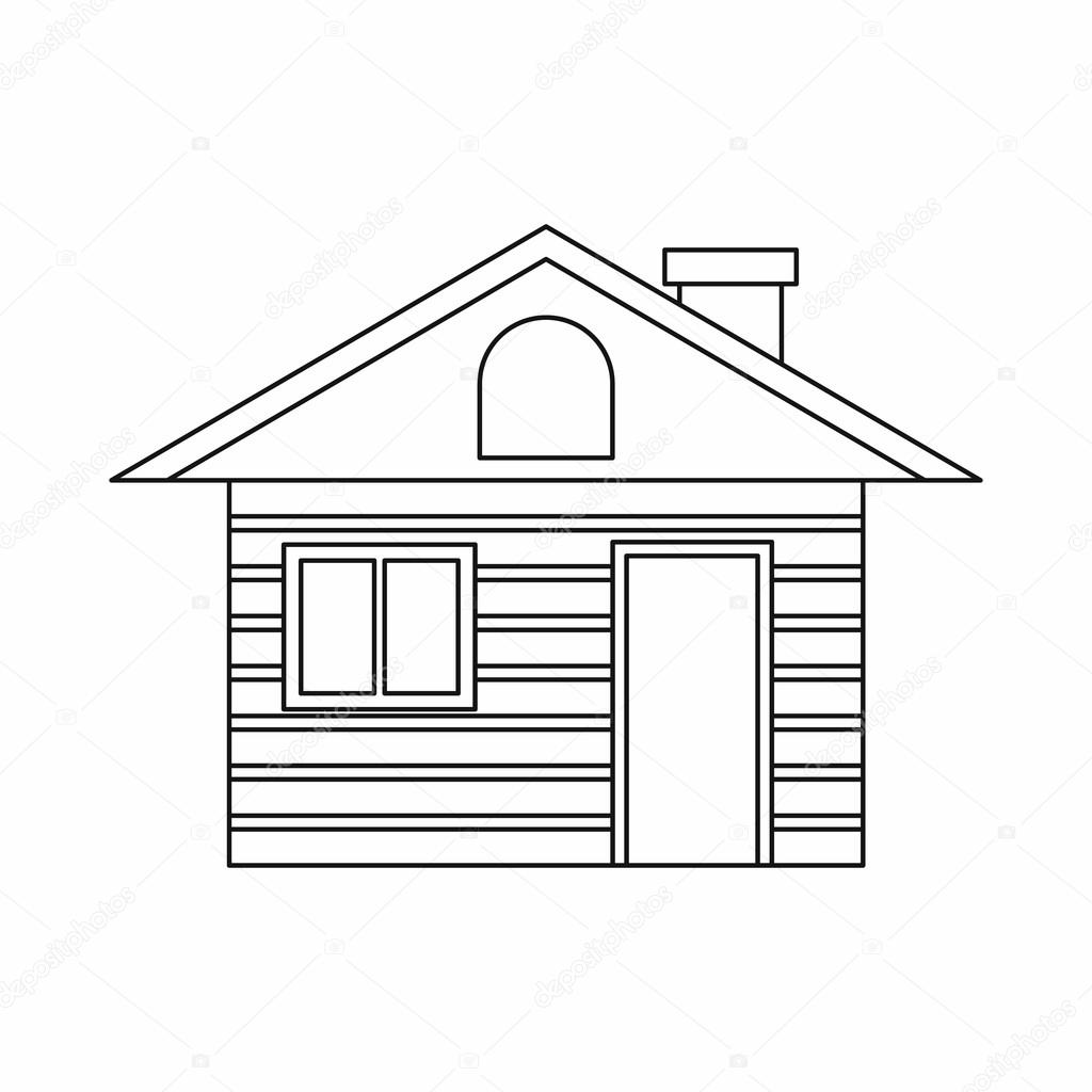 Wooden log house icon, outline style — Stock Vector © ylivdesign ...