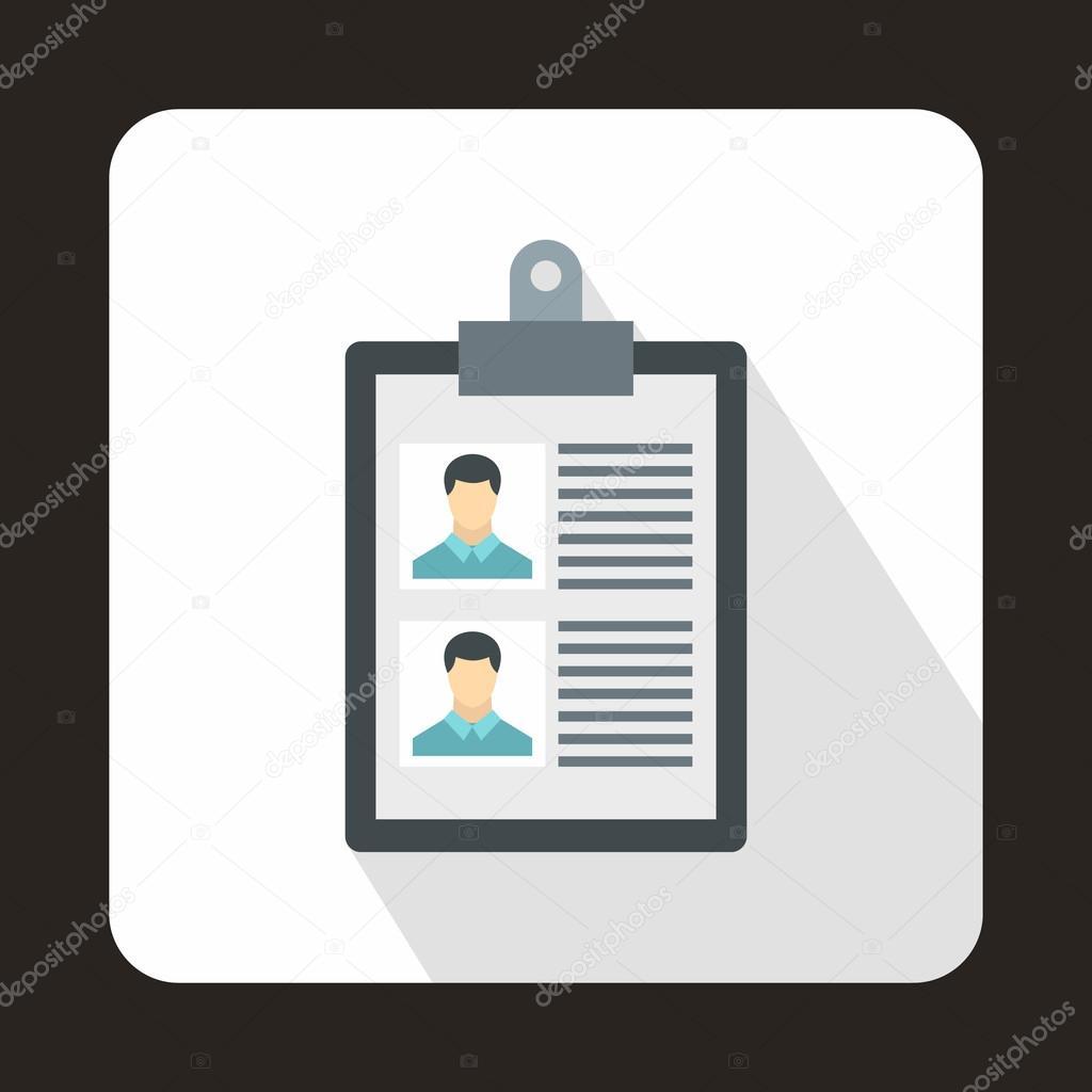 Reanudar de icono de dos candidatos, estilo plano — Archivo Imágenes ...