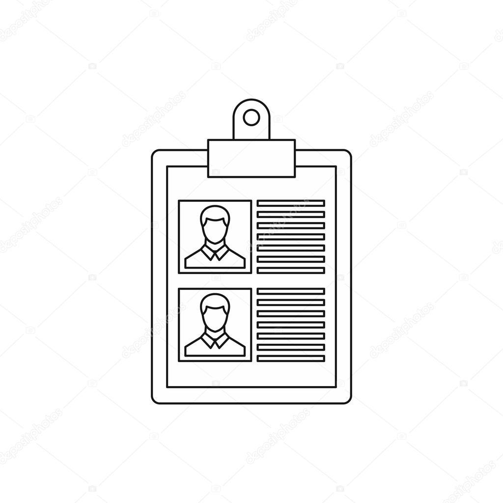 Reanudar de icono de dos candidatos, estilo de contorno — Archivo ...