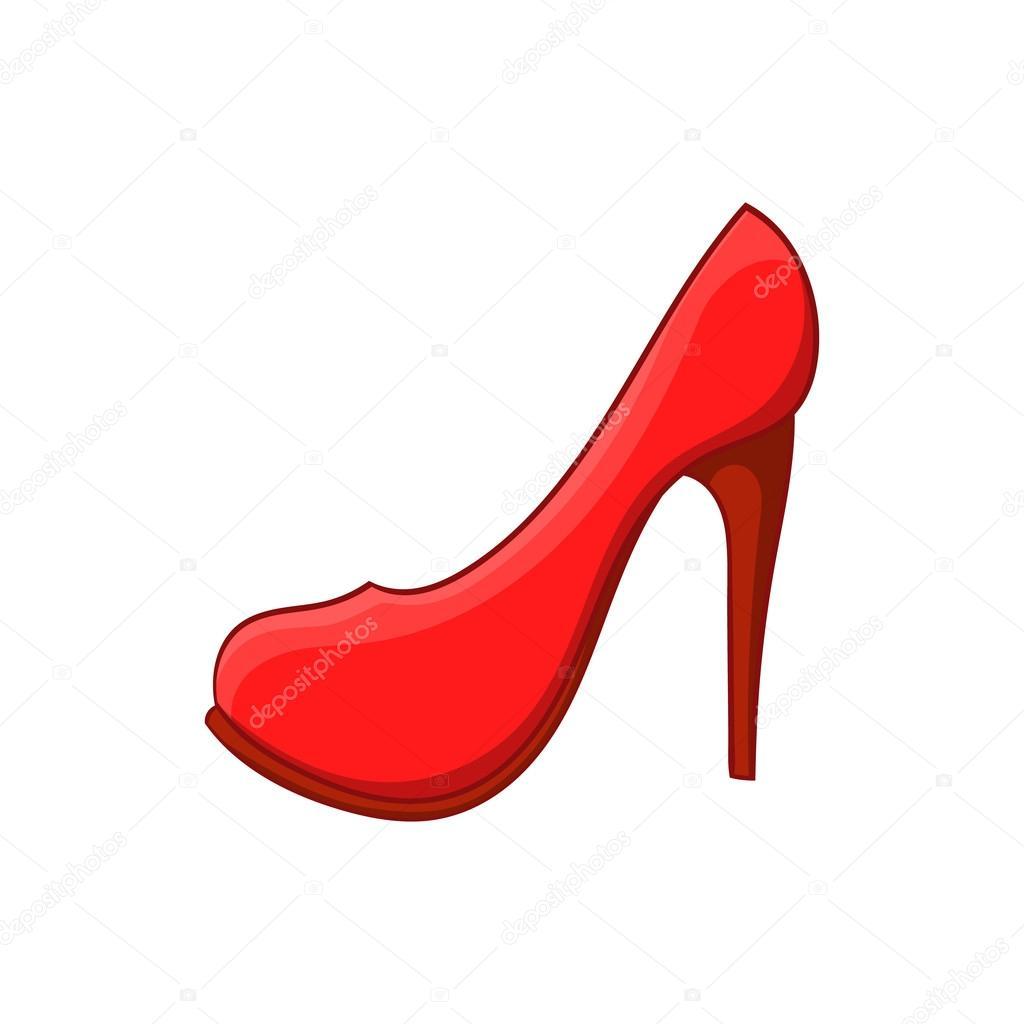 animados un blanco estilo sobre rojos dibujos Icono animados del en dibujos fondo de zapato rojo tacón de zapatos qYwOzqP