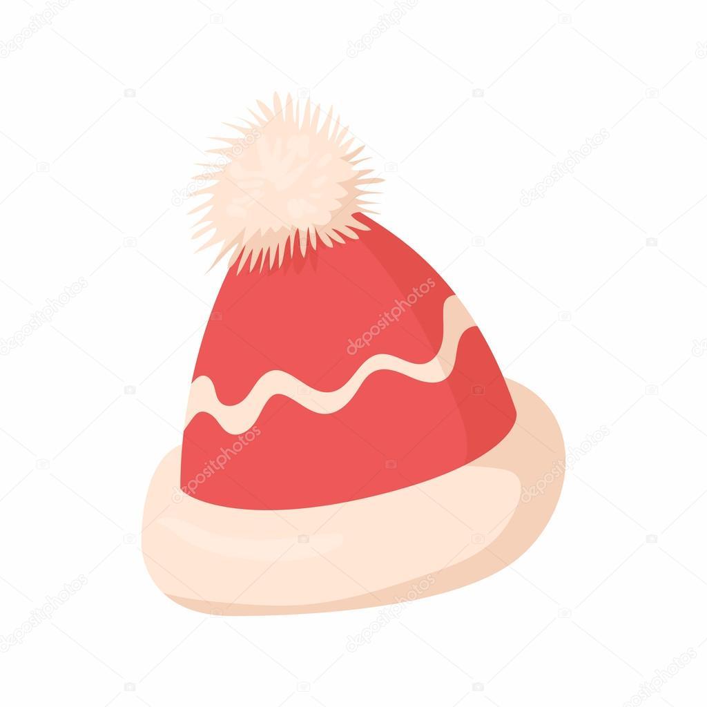 Invierno sombrero en icono estilo de dibujos animados aislado sobre fondo  blanco. Símbolo de tocado - animado  gorro de invierno — Vector de  ylivdesign ... f8e20b77f2e