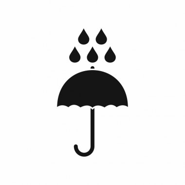 Umbrella and rain drops icon, simple style