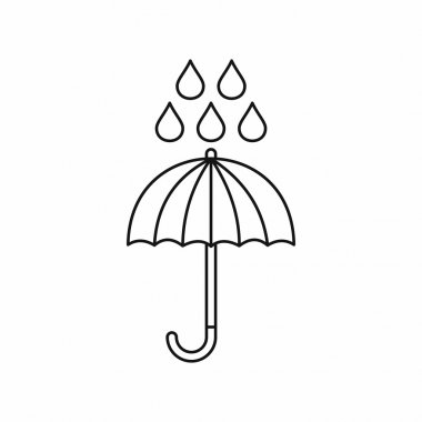 Umbrella and rain drops icon, outline style