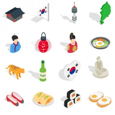 Republic Of Korea icons set, isometric 3d ctyle
