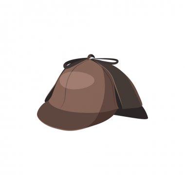 Detective Sherlock Holmes hat icon, cartoon style