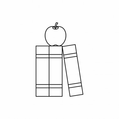 Stack of books and apple icon, outline style