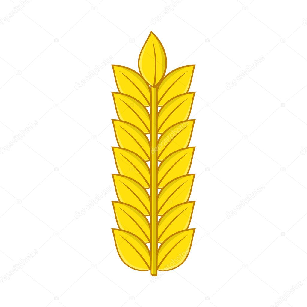 Ear of wheat icon in cartoon style