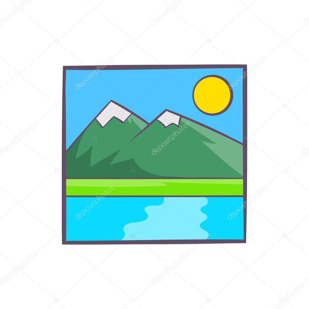 Berg Landschaft Symbol Zeichnen Comic Stil Stockvektor