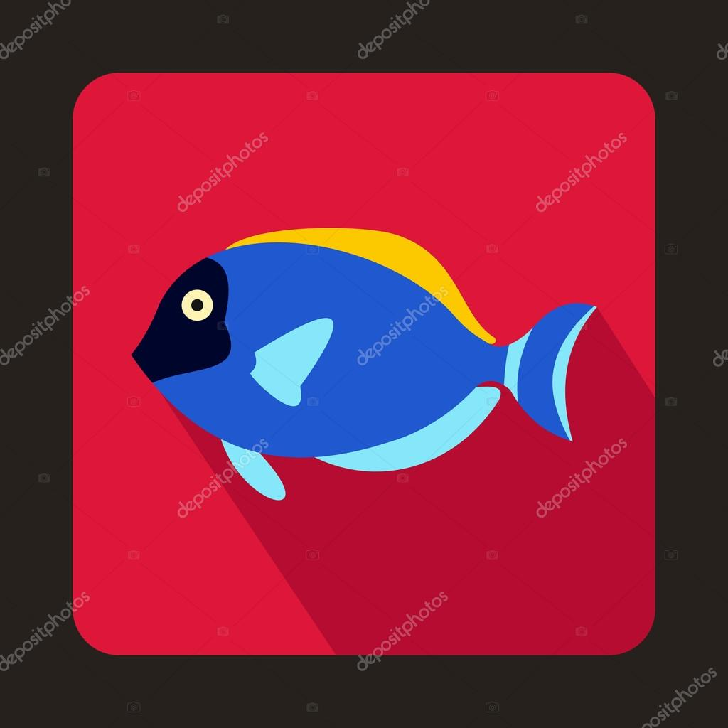 Blue surgeon fish icon, flat style
