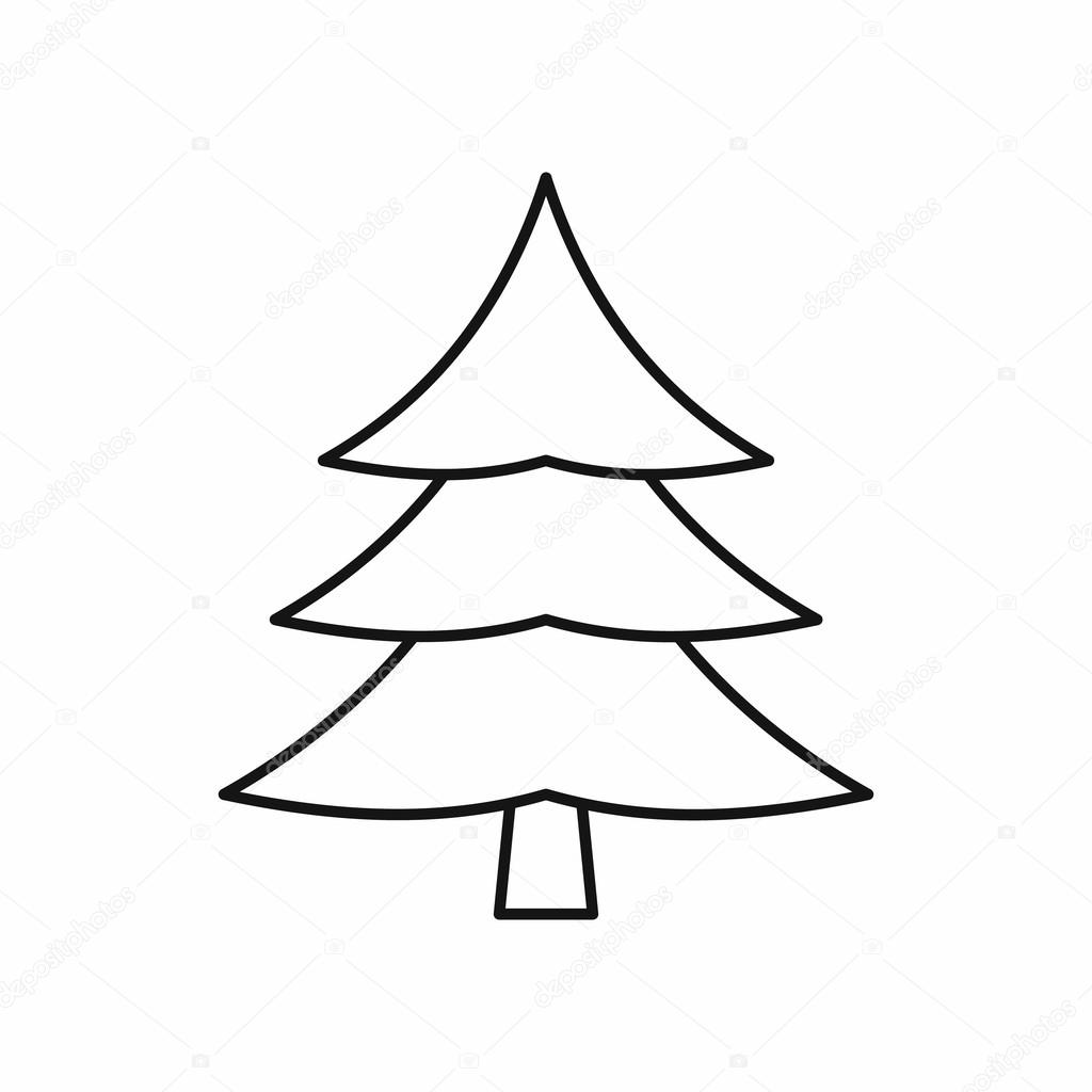 Ic ne de sapin arbre style de contour image vectorielle - Dessin de sapin de noel facile ...