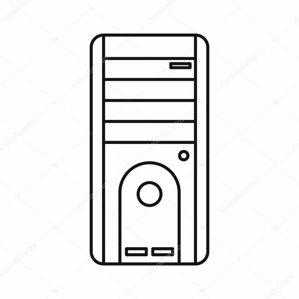 컴퓨터 시스템 단위 아이콘, 윤곽선 스타일 — 스톡 벡터 © ylivdesign #117108036