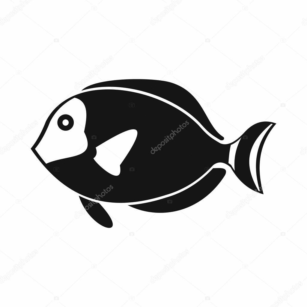 Surgeon fish icon, simple style