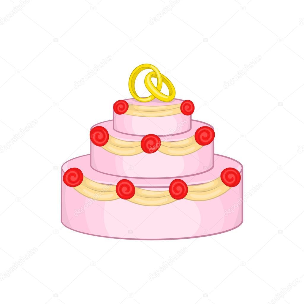 Hochzeitstorte Symbol Cartoon Stil Stockvektor C Ylivdesign