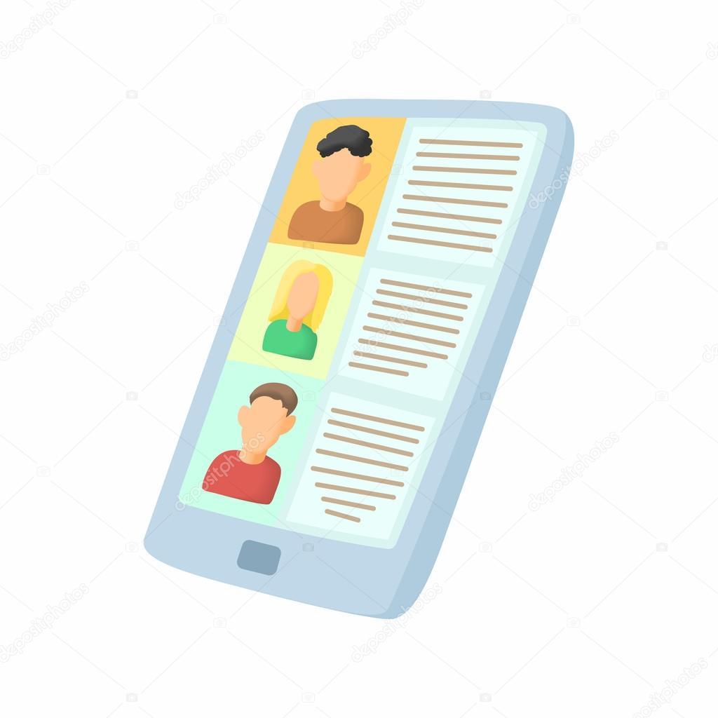 Ver reanudar en icono de la tableta, estilo de dibujos animados ...