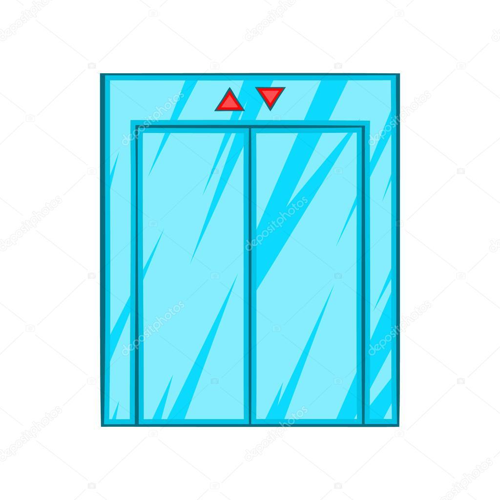Elevator with closed door icon cartoon style — stock