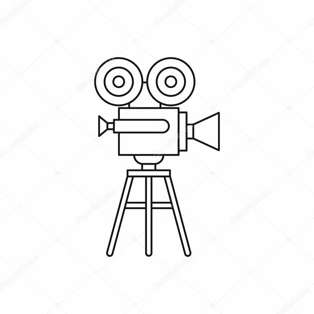 Retro Film Projector Icon Outline Style Stock Vector Ylivdesign