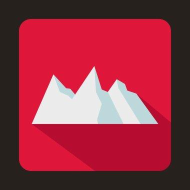 Snowy mountains icon, flat style