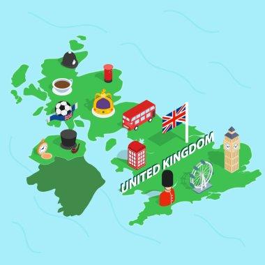 United Kingdom map, isometric 3d style