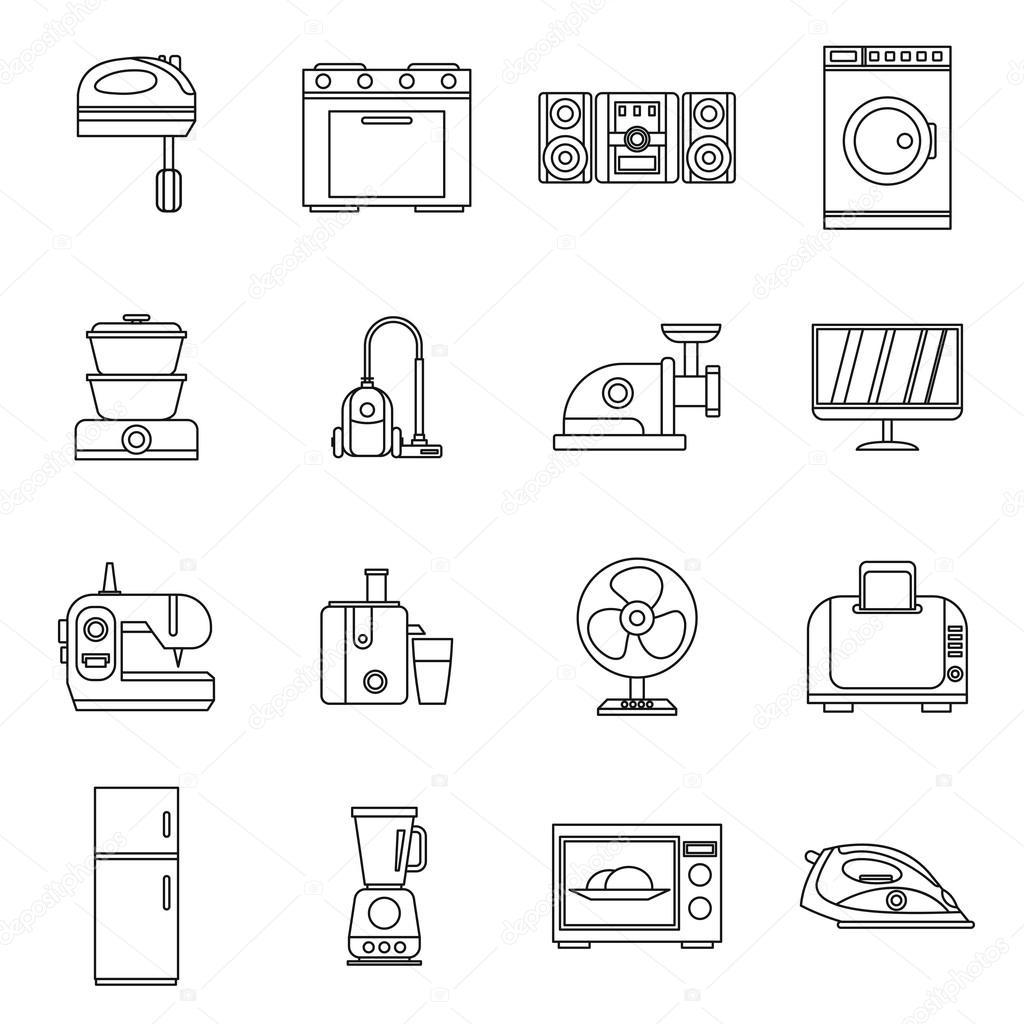 Haushaltsgeräte-Symbole-Set, Umriss-Stil — Stockvektor © ylivdesign ...