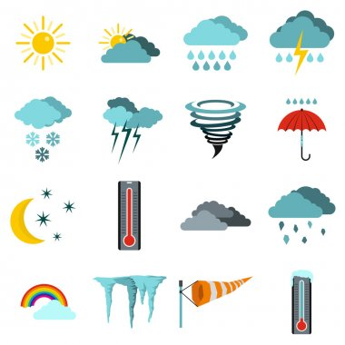 Flat weather icons set. Universal weather icons to use for web and mobile UI, set of basic weather elements isolated vector illustration clip art vector