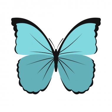 Blue butterfly icon in flat style