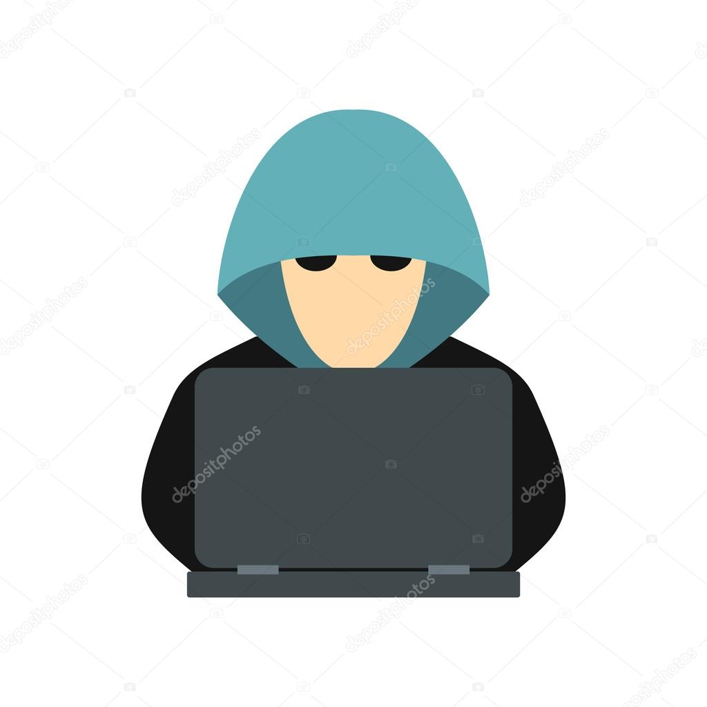 Hacker behind a computer icon, flat style — Stock Vector ...