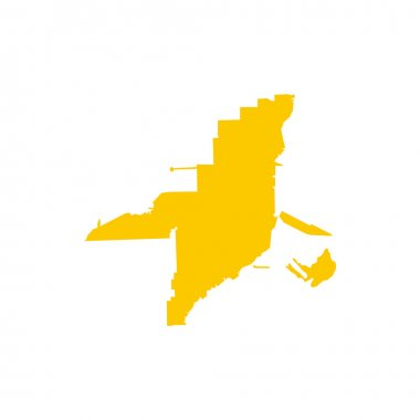 Florida yellow map icon, flat style