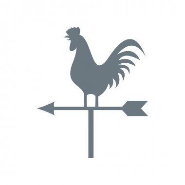 White weather vane with cock icon, flat style
