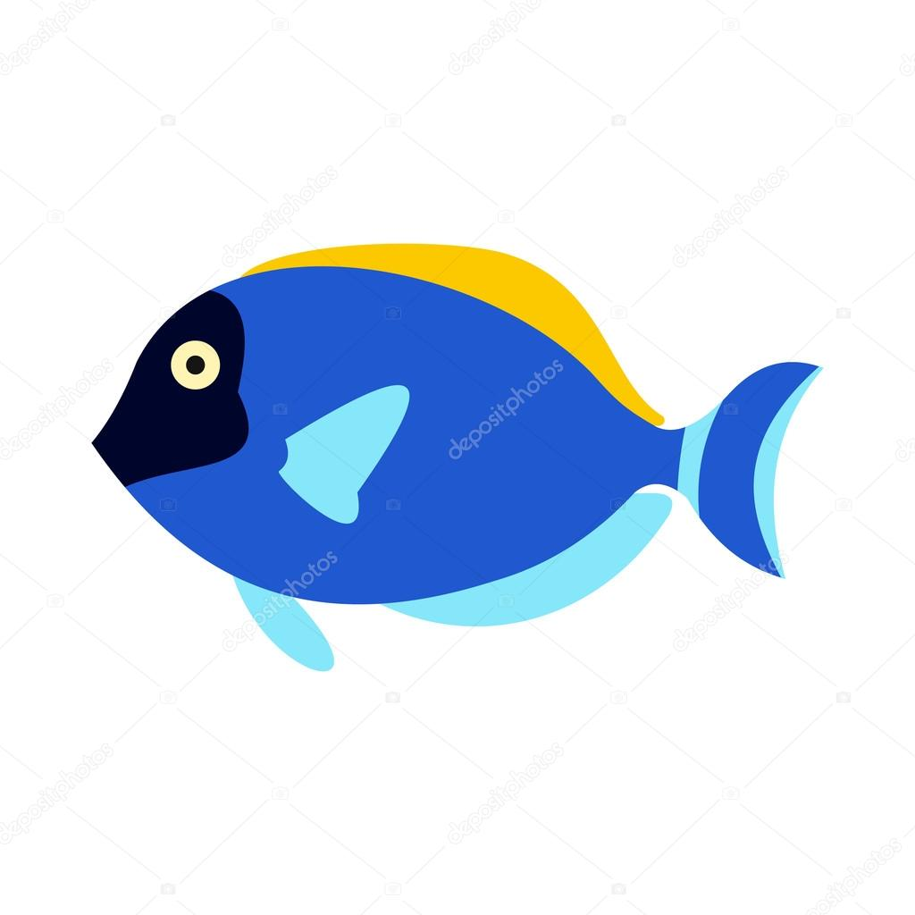 Surgeon fish icon, flat style