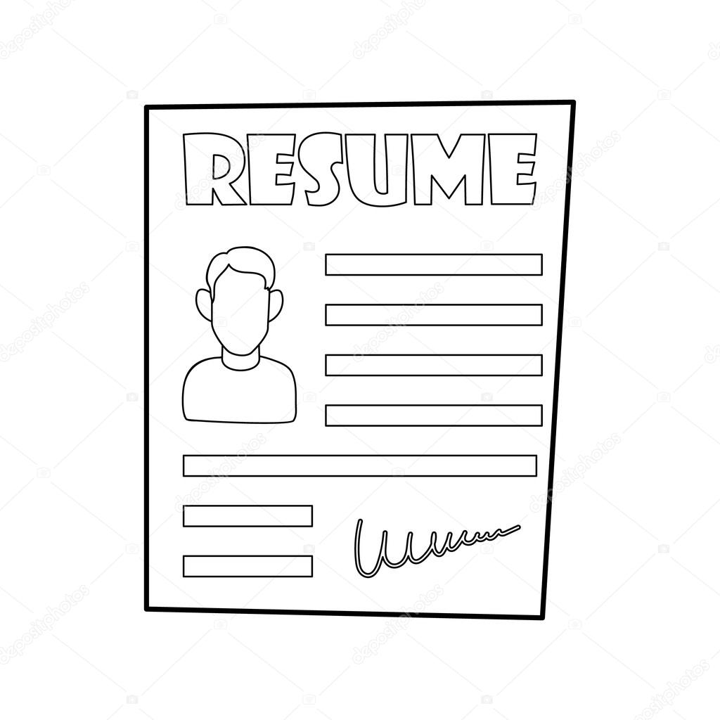resume icon in outline style stock vector