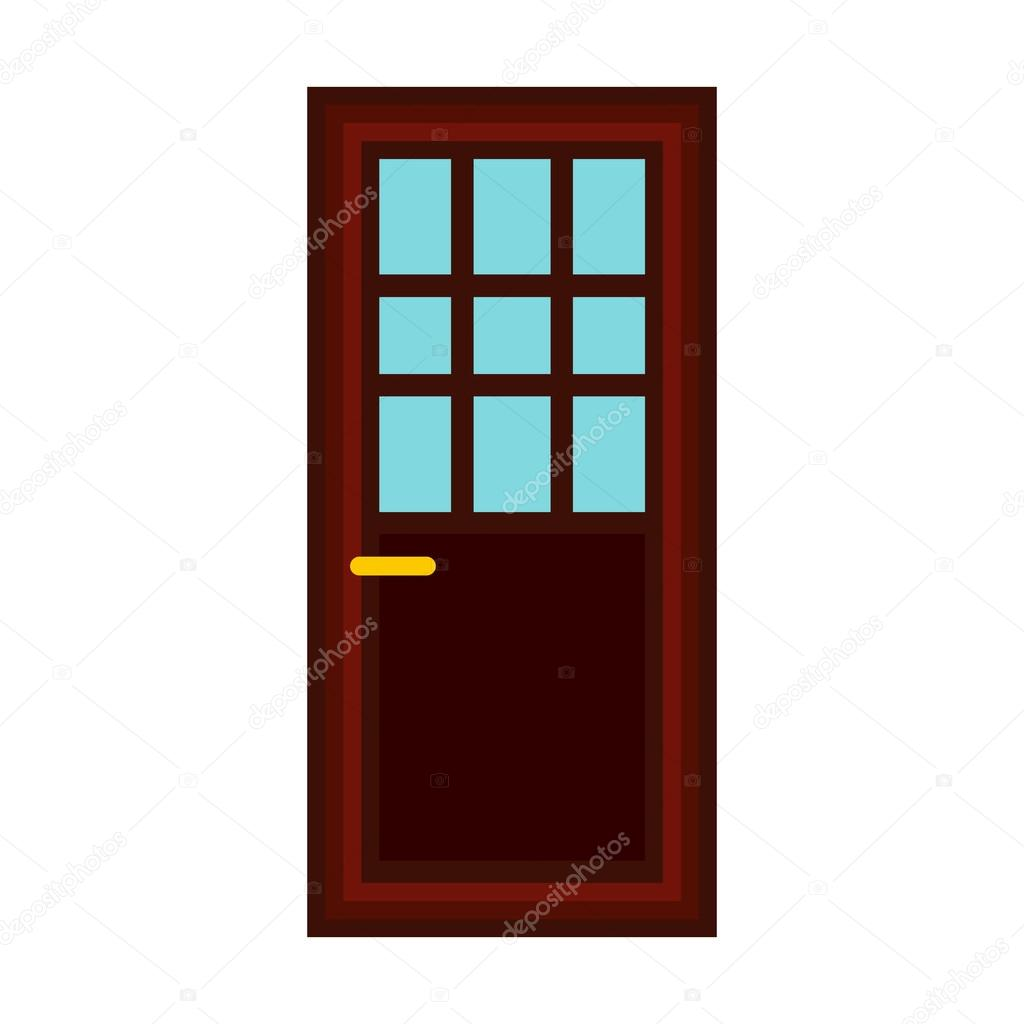 Classic interior wooden door icon, flat style — Stock Vector ...
