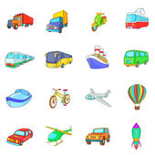 Photo Transport icons set, cartoon style
