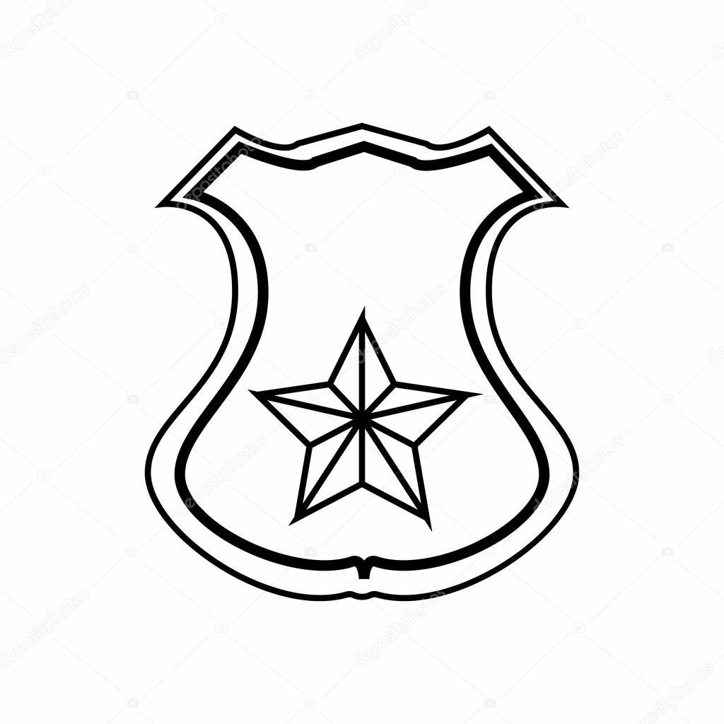 Sheriff Badge Outline Vector - Freemium Clipart & Vector •