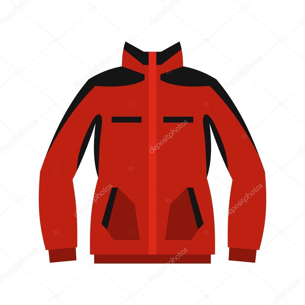 Rotes Sweatshirt mit einem Reißverschluss-Symbol, flachen Stil ...