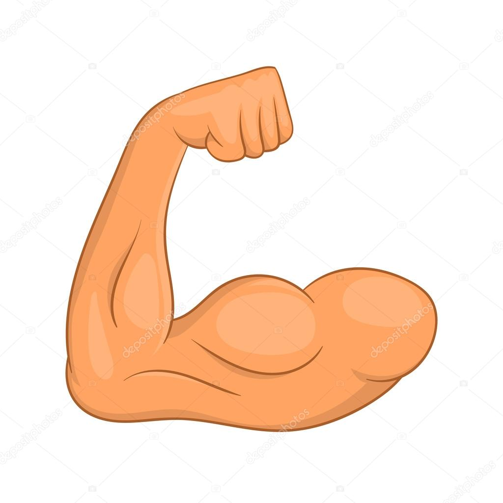 Bizeps Hände Symbol, Cartoon-Stil — Stockvektor © ylivdesign #120761828