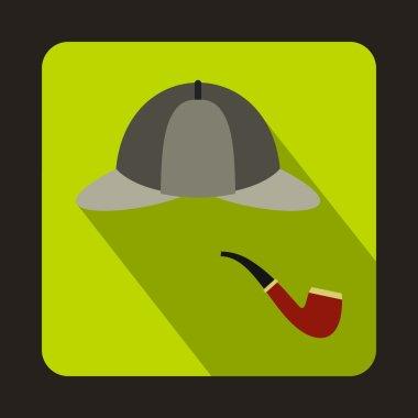 Detective Sherlock Holmes hat, smoking pipe icon