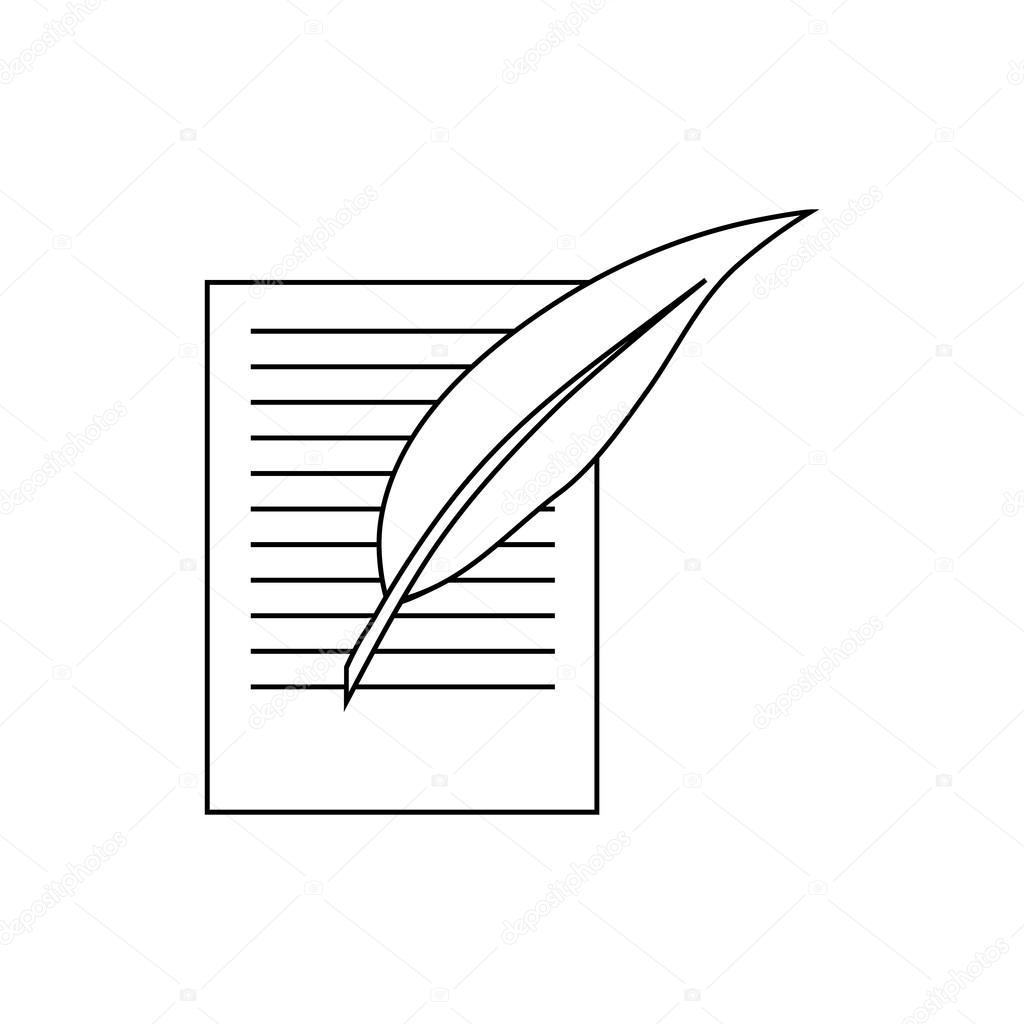 Testamento letra y pluma icono estilo de contorno — Vector de stock ...