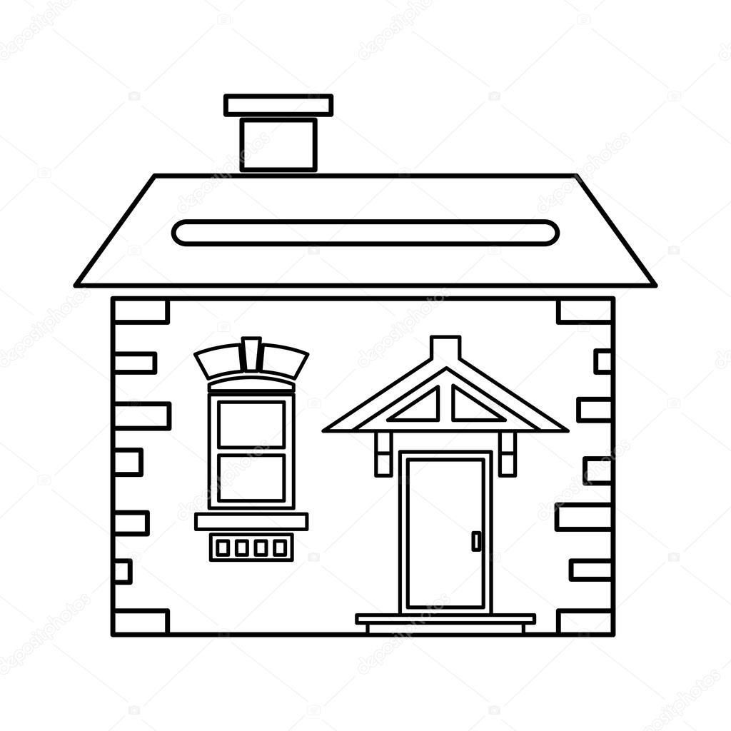 Haus Mit Dach Und Schornstein Symbol, Umriss Stil U2014 Stockvektor