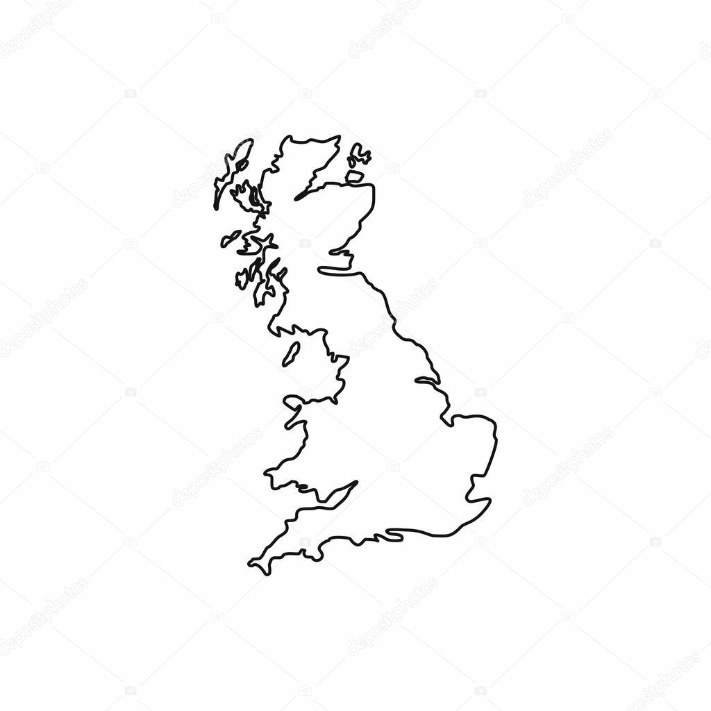 Großbritannien Karte Umriss.Karte Von Großbritannien Symbol Umriss Stil Stockvektor