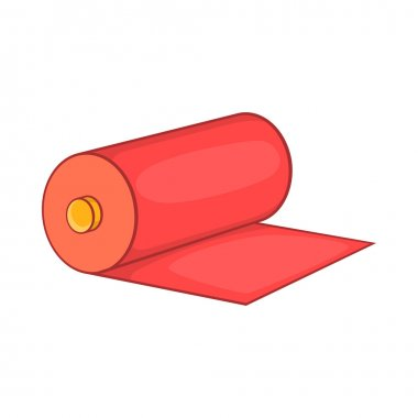 Red fabric roll icon, cartoon style