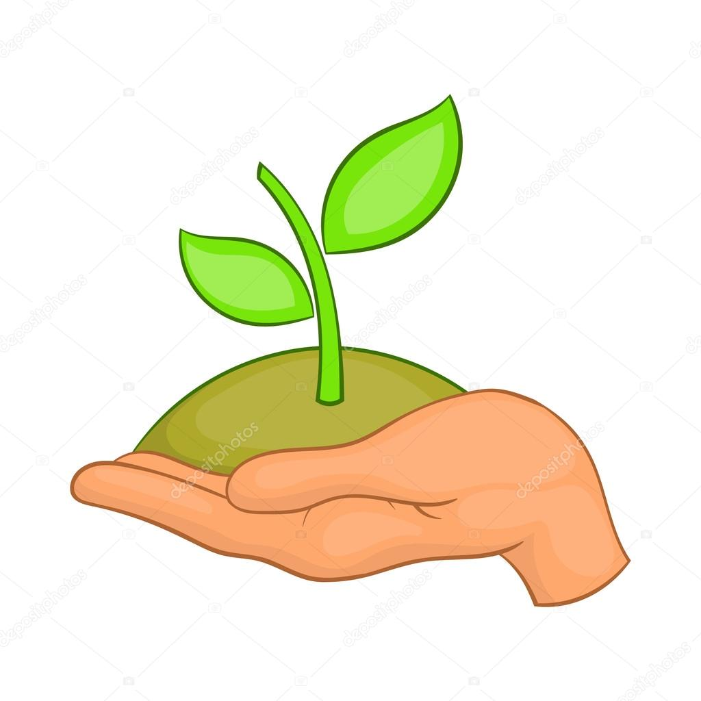 Hands with green sprout icon, cartoon style