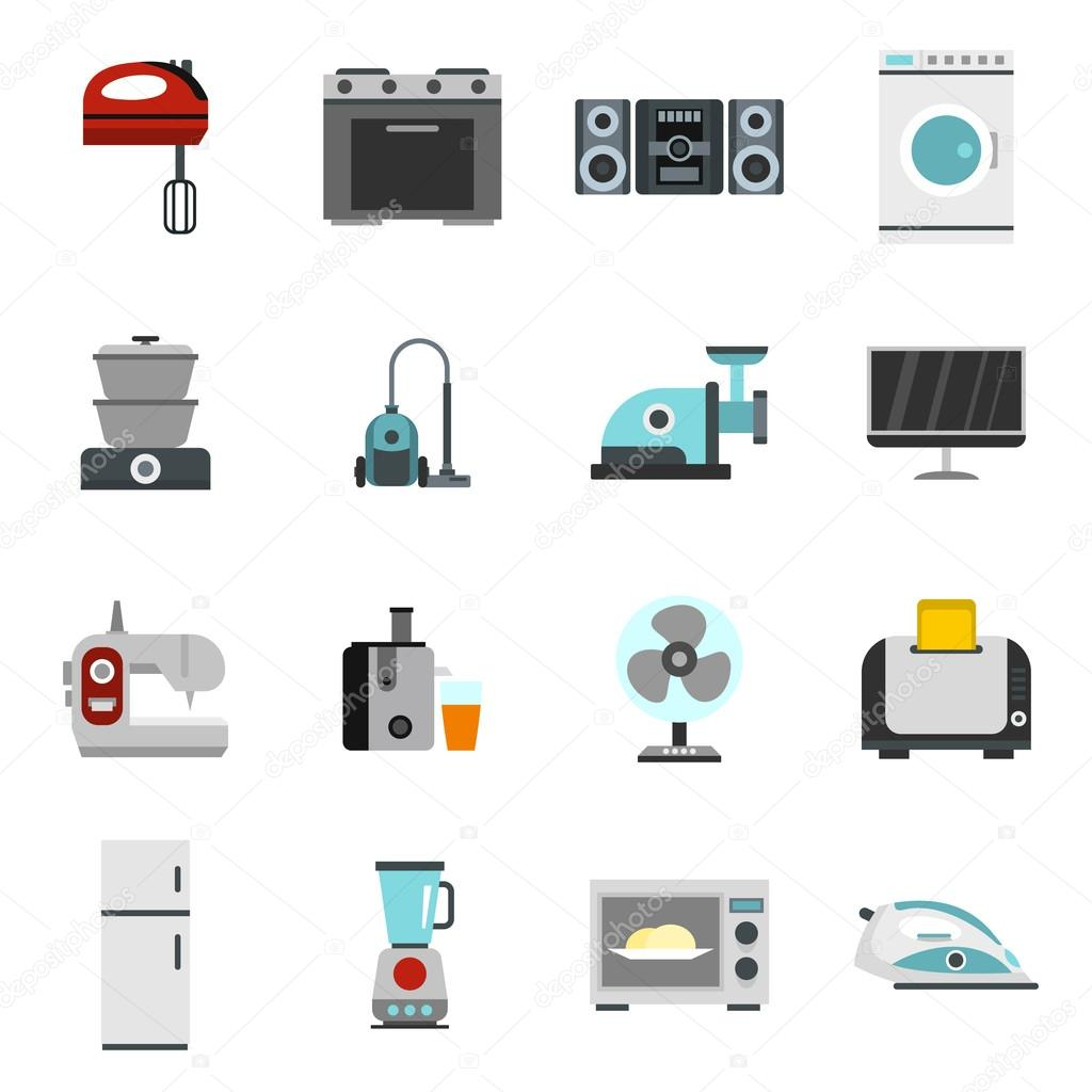 Haushaltsgerät Icons Set, flachen Stil — Stockvektor © ylivdesign ...