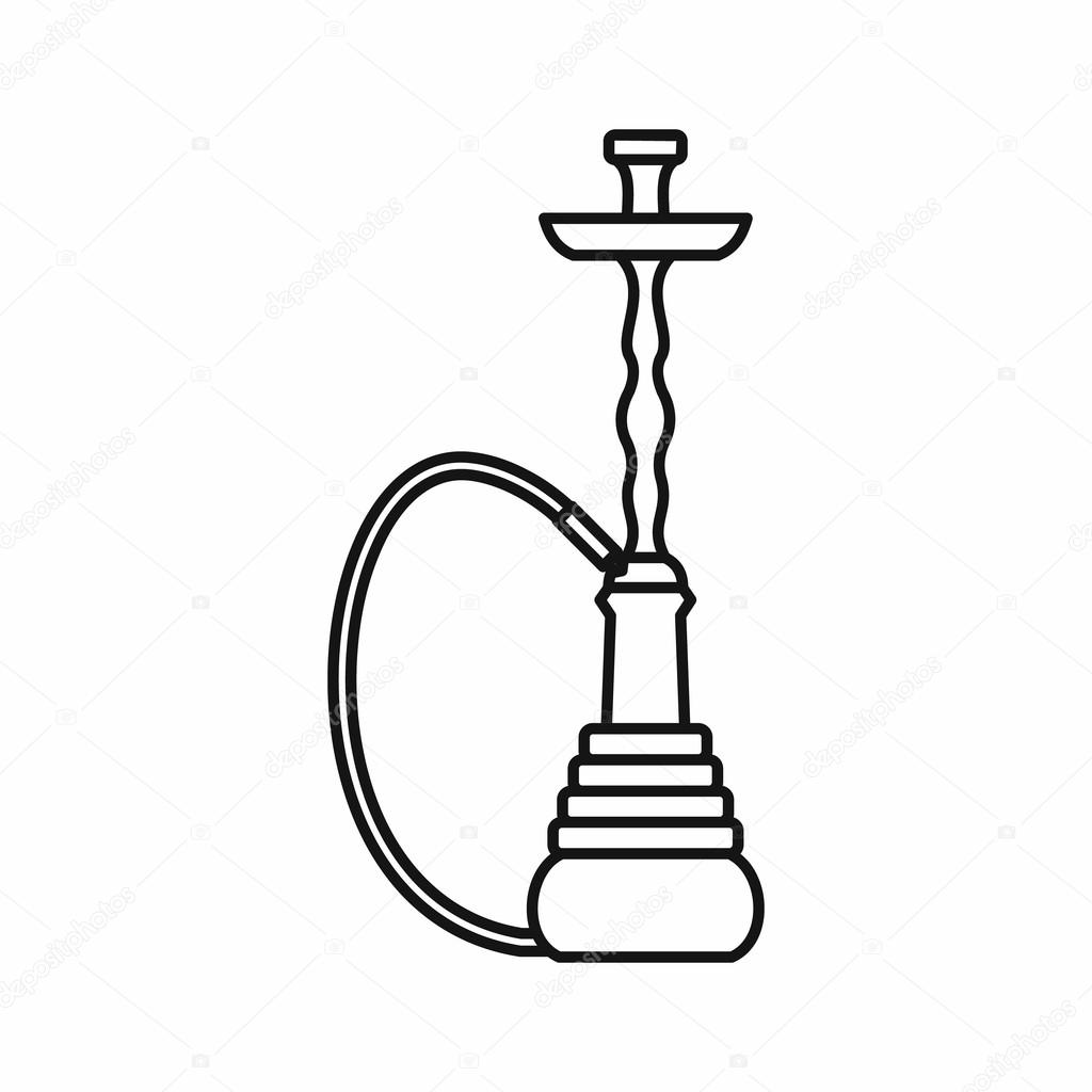 Hookah icon, outline style