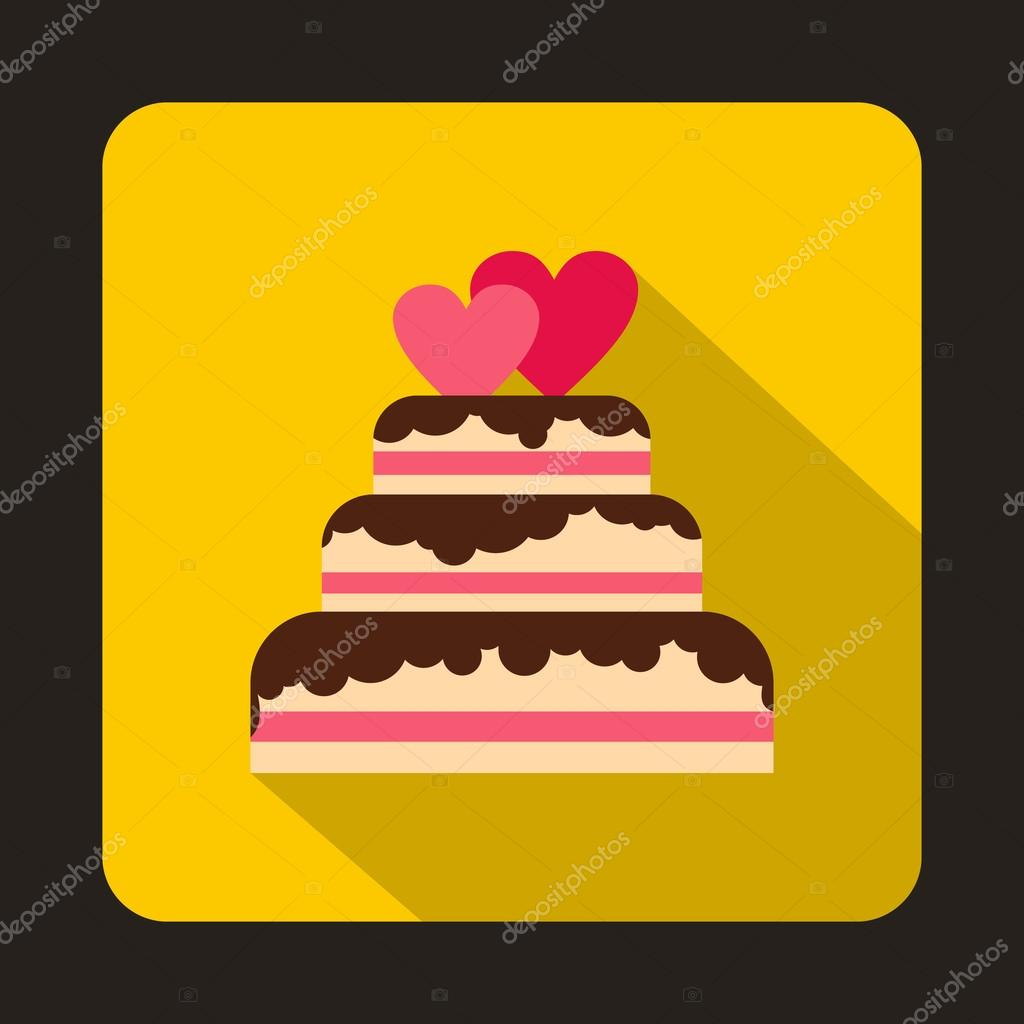 Wedding cake with two hearts icon, flat style